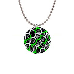 Green playful design Button Necklaces