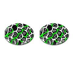 Green playful design Cufflinks (Oval)