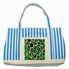 Green playful design Striped Blue Tote Bag