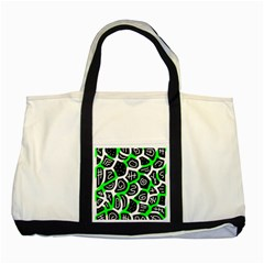 Green playful design Two Tone Tote Bag