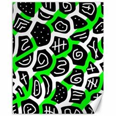 Green playful design Canvas 11  x 14