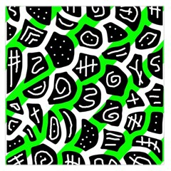 Green playful design Large Satin Scarf (Square)