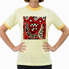 Red high art abstraction Women s Fitted Ringer T-Shirts