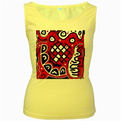 Red high art abstraction Women s Yellow Tank Top