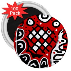 Red high art abstraction 3  Magnets (100 pack)