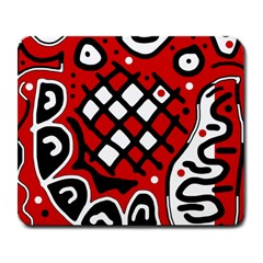 Red high art abstraction Large Mousepads