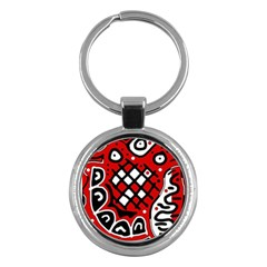 Red high art abstraction Key Chains (Round)