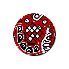 Red high art abstraction Rubber Round Coaster (4 pack)
