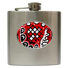 Red high art abstraction Hip Flask (6 oz)