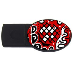Red high art abstraction USB Flash Drive Oval (1 GB)