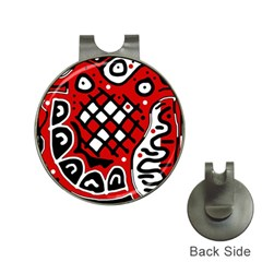 Red high art abstraction Hat Clips with Golf Markers