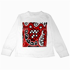 Red high art abstraction Kids Long Sleeve T-Shirts