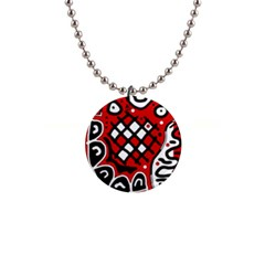 Red high art abstraction Button Necklaces