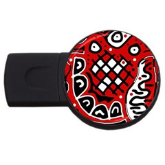 Red high art abstraction USB Flash Drive Round (4 GB)