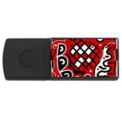 Red high art abstraction USB Flash Drive Rectangular (4 GB)