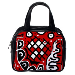 Red high art abstraction Classic Handbags (One Side)
