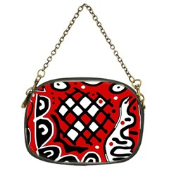 Red high art abstraction Chain Purses (One Side)