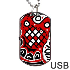 Red high art abstraction Dog Tag USB Flash (One Side)