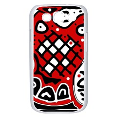 Red high art abstraction Samsung Galaxy S III Case (White)