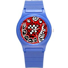 Red high art abstraction Round Plastic Sport Watch (S)
