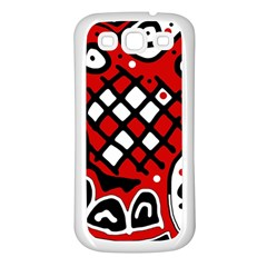 Red high art abstraction Samsung Galaxy S3 Back Case (White)