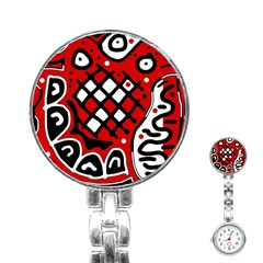 Red high art abstraction Stainless Steel Nurses Watch