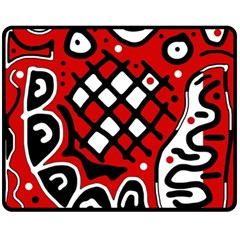 Red high art abstraction Double Sided Fleece Blanket (Medium)