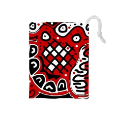 Red high art abstraction Drawstring Pouches (Medium)