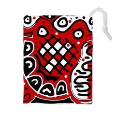 Red high art abstraction Drawstring Pouches (Extra Large)