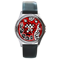 Red high art abstraction Round Metal Watch