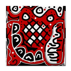 Red high art abstraction Tile Coasters