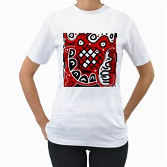 Red high art abstraction Women s T-Shirt (White) (Two Sided)