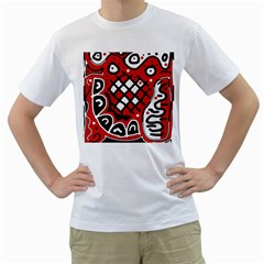 Red high art abstraction Men s T-Shirt (White) (Two Sided)