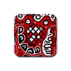 Red high art abstraction Rubber Coaster (Square)