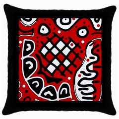 Red high art abstraction Throw Pillow Case (Black)