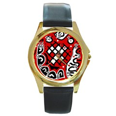 Red high art abstraction Round Gold Metal Watch