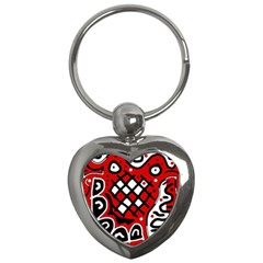 Red high art abstraction Key Chains (Heart)