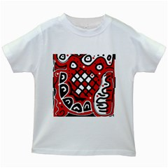 Red high art abstraction Kids White T-Shirts