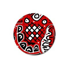 Red high art abstraction Magnet 3  (Round)