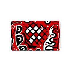 Red high art abstraction Magnet (Name Card)