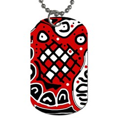 Red high art abstraction Dog Tag (One Side)