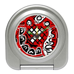 Red high art abstraction Travel Alarm Clocks