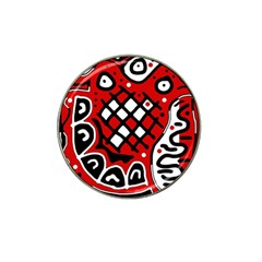 Red high art abstraction Hat Clip Ball Marker (4 pack)