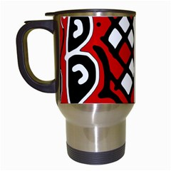 Red high art abstraction Travel Mugs (White)