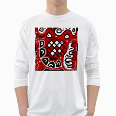 Red high art abstraction White Long Sleeve T-Shirts
