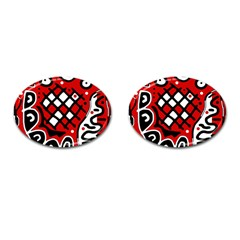 Red high art abstraction Cufflinks (Oval)