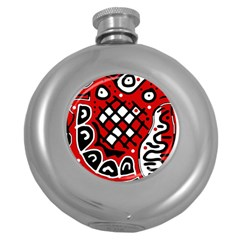 Red high art abstraction Round Hip Flask (5 oz)