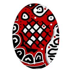 Red high art abstraction Oval Ornament (Two Sides)