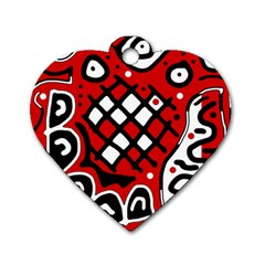 Red high art abstraction Dog Tag Heart (One Side)