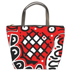Red high art abstraction Bucket Bags